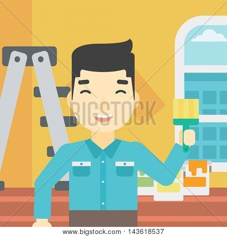 An asian painter holding a paint brush. Painter painting walls with paint brush at home. House renovation concept. Vector flat design illustration. Square layout.