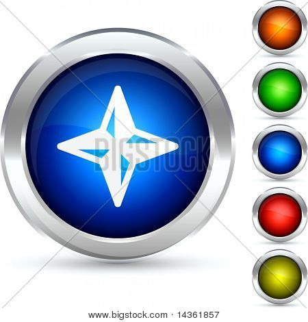 Compass detailed button. Vector illustration.