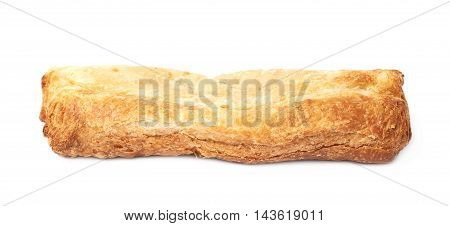 Single sausage pastry bun isolated over the white background