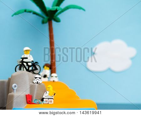 Orvieto Italy - February 16th 2016: Group of Lego minifigure Stormtroopers on the beach.
