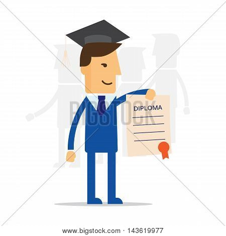 Businessman illustration of obtaining degree diploma of university college or business school eps10