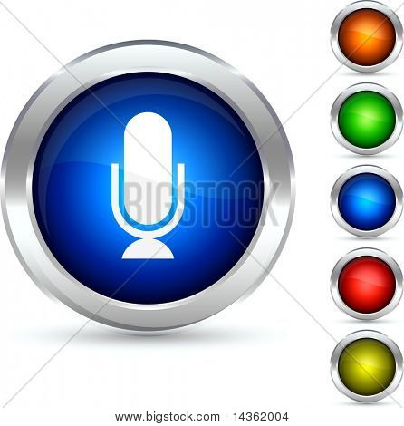Mic detailed button. Vector illustration.