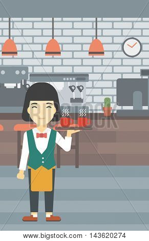 An asian young waitress holding a tray with cups of tea or coffee. Waiter with cups of coffee or tea at the bar. Vector flat design illustration. Vertical layout.