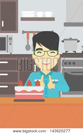 An asian happy man looking with passion at a big cake. An excited man standing in front of cake in the kitchen. Man craving delicious cake. Vector flat design illustration. Vertical layout.