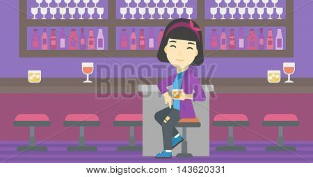 An asian young woman sitting at the bar counter. Woman sitting with glass in bar. Cheerful young woman sitting alone at the bar counter. Vector flat design illustration. Horizontal layout.
