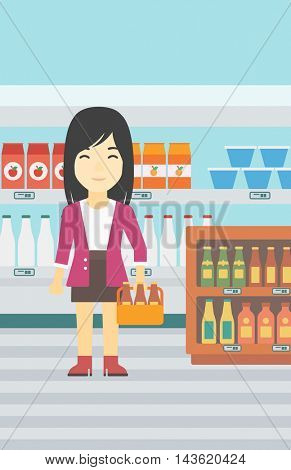 An asian young woman standing in alcohol store. Woman holding pack of beer at supermarket. Woman standing at alcohol section. Vector flat design illustration. Vertical layout.