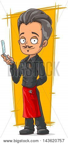 A vector illustration of cartoon stylish hairdresser in red apron
