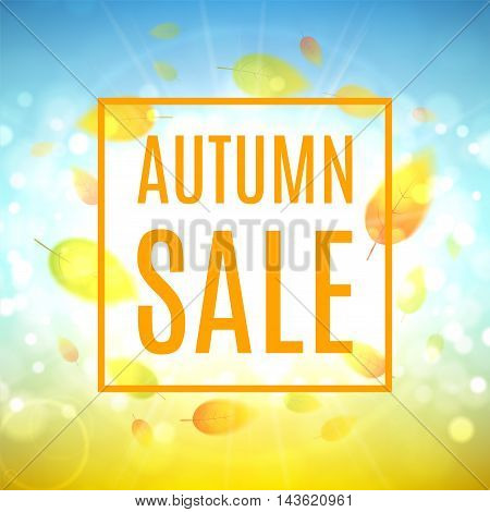 Autumn sale banner. Shiny backdrop with seasonal special offer. Beautiful background with the falling leaves. Vector illustration.