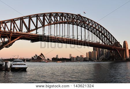 Sydney, Australia - Aug 21, 2016. Opera House and Harbour Bridge from Milsons Point Ferry Wharf at Sunset.