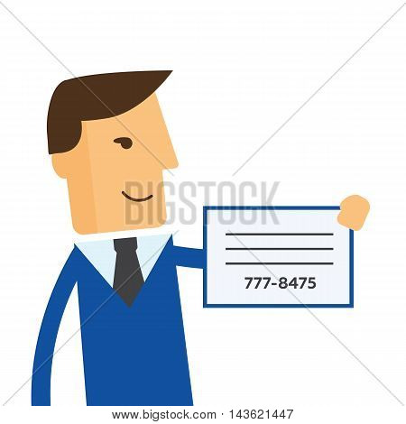 Businessman shows a business card vector eps10