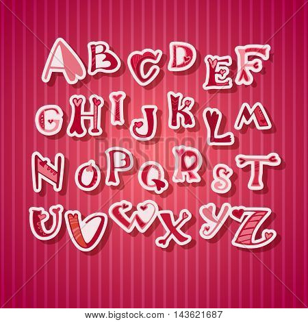Saint Valentine's Day font from my big font collection. Letters in doodle style with shadow