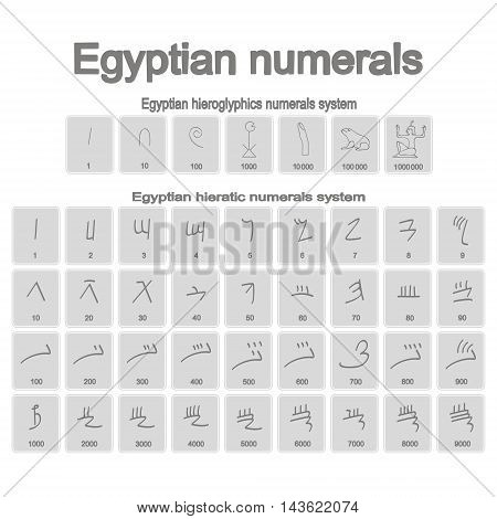 Set of monochrome icons with ancient egyptian numerals for your design