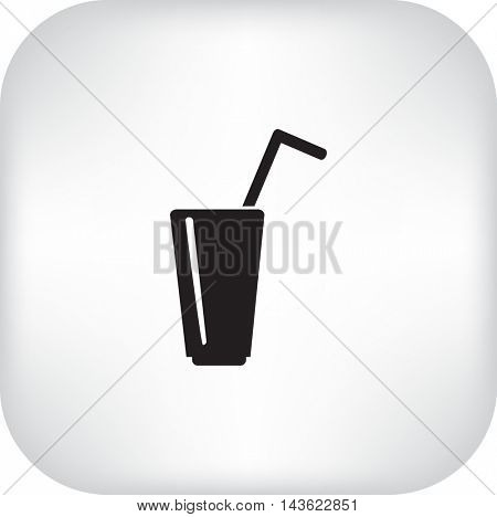 Flat icon. A glass with a straw. Drink.