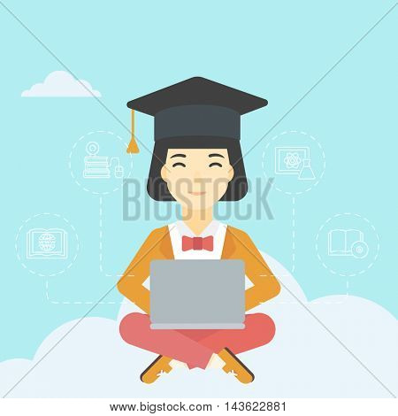 An asian happy graduate sitting on the cloud. Graduate working on laptop. Education technology and graduation concept. Vector flat design illustration. Square layout.