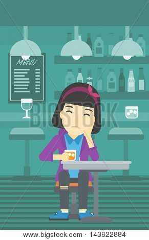 An asian sad woman sitting at the bar with glass of alcoholic beverage. Young woman sitting alone at the bar and drinking alcohol. Vector flat design illustration. Vertical layout.