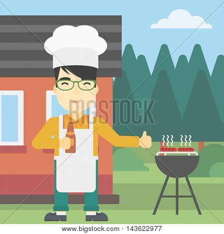 An asian man with bottle in hand cooking meat on gas barbecue grill in the backyard and giving thumb up. Man cooking meat on barbecue. Vector flat design illustration. Square layout.