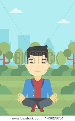 An asian young businessman meditating in yoga lotus position. Businessman relaxing in the park in the lotus position. Vector flat design illustration. Vertical layout.