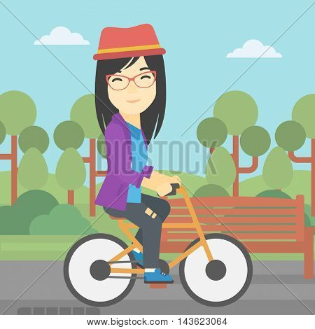 An asian young woman riding a bicycle in park. Cyclist riding bike on forest road. Woman on bike outdoors. Healthy lifestyle concept. Vector flat design illustration. Square layout.
