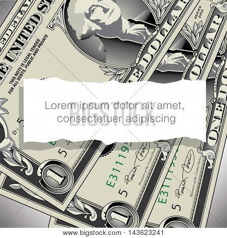 A one dollar bill design with white space for text