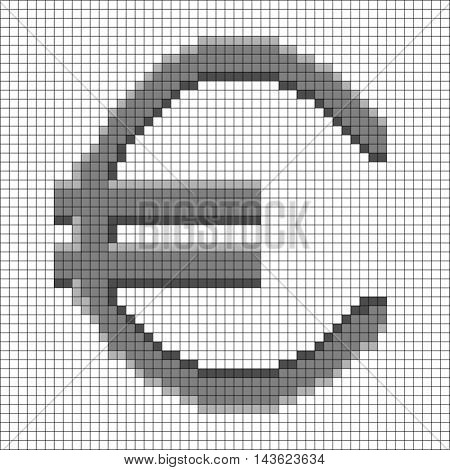 Sign pixel euro grey in grid. Monochrome icon isolated on white lattice background. Pixelated design. Logo for business. Europe finance symbol made of pixels. Mark of commerce. Vector illustration