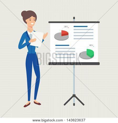 Vector illustration of businesswoman giving presentation flat style