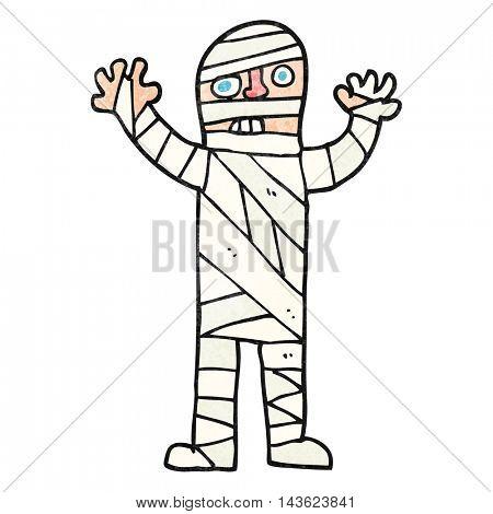 freehand textured cartoon bandaged mummy