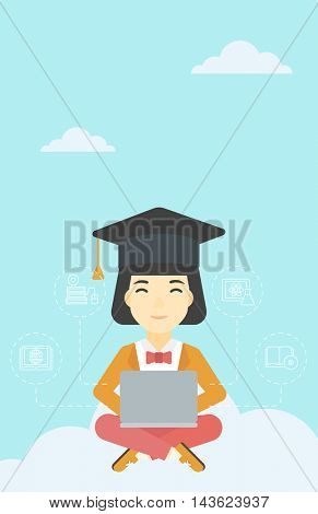 An asian happy graduate sitting on the cloud. Graduate working on laptop. Education technology and graduation concept. Vector flat design illustration. Vertical layout.