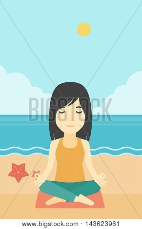An asian young woman meditating in yoga lotus pose outdoor. Woman relaxing in the yoga lotus position. Woman doing yoga on nature. Vector flat design illustration. Vertical layout.