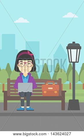 An asian young business woman with briefcase working in the park. Woman working on a laptop. Business woman sitting on a bench with laptop. Vector flat design illustration. Vertical layout.