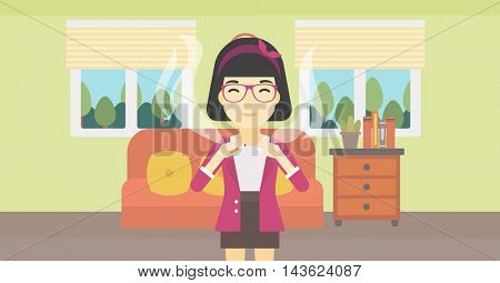 An asian woman breaking the cigarette. Woman crushing cigarette. Woman holding broken cigarette on the background of living room. Quit smoking concept. Vector flat design illustration. Horizontal