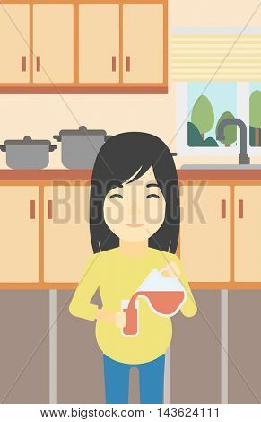 An asian pregnant woman pouring juice in glass. Pregnant woman drinking juice. Concept of healthy nutrition during pregnancy. Vector flat design illustration. Vertical layout.