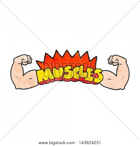 freehand textured cartoon muscles symbol