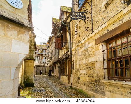 HONFLEUR, FRANCE - MAY 6, 2014: Street of Honfleur, Normandy, France