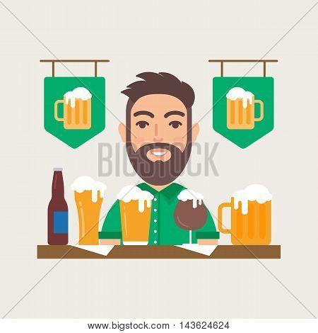 Beer bar pub vector illustration flat style