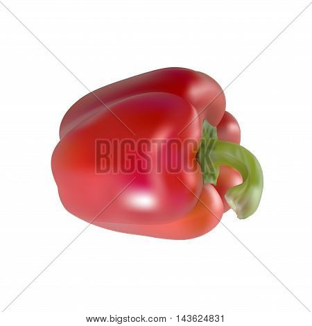 An illustration of a red pepper on a white background. This images uses gradient meshes and gradients.