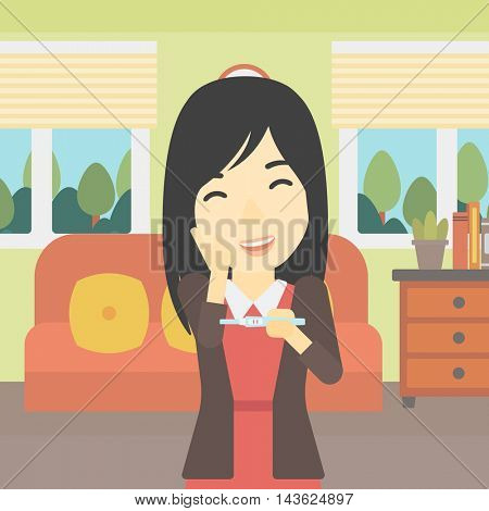 An asian delighted woman looking at positive pregnancy test on the background of living room. Young woman checking pregnancy test. Vector flat design illustration. Square layout.