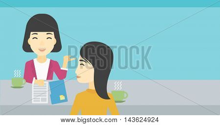 An asian female journalist interviewing a young man on a light blue background. Vector flat design illustration. Horizontal layout.