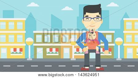 An asian father carrying daughter in sling. Father with baby in sling walking in the city street. Young father carrying newborn in sling. Vector flat design illustration. Horizontal layout.