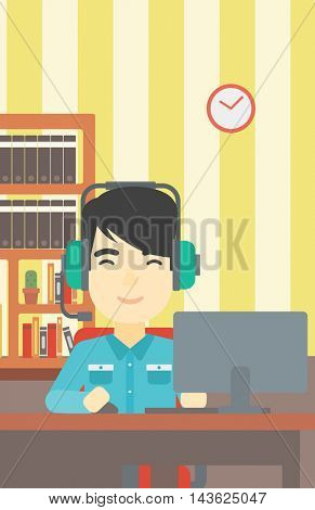 An asian man playing computer game on the background of living room. Gamer in headphones playing online games. Gamer using computer for playing game. Vector flat design illustration. Vertical layout.