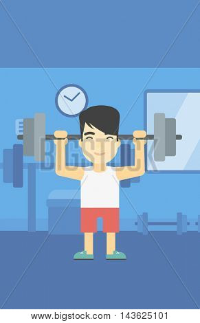 An asian young man lifting a heavy weight barbell. Strong sportsman doing exercise with barbell in the gym. Male weightlifter holding a barbell. Vector flat design illustration. Vertical layout.