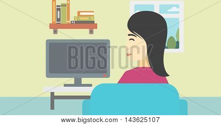 An asian young woman sitting on the couch in living room and watching tv. Vector flat design illustration. Horizontal layout.