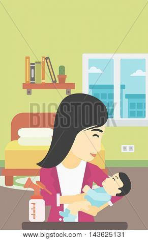 An asian mother holding a newborn baby in hands and a breast pump standing on the table in front of her. Young mother feeding her baby. Vector flat design illustration. Vertical layout.