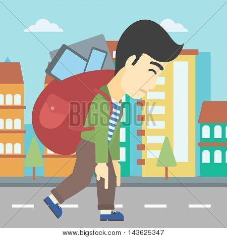 An asian young man walking with backpack full of different devices. Man walking with many devices in the city. Man with many electronic devices. Vector flat design illustration. Square layout.