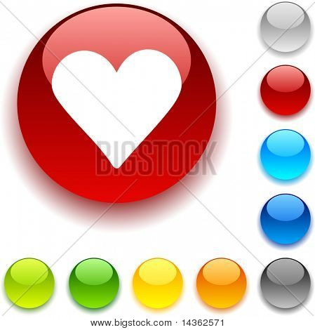 Love shiny button. Vector illustration.