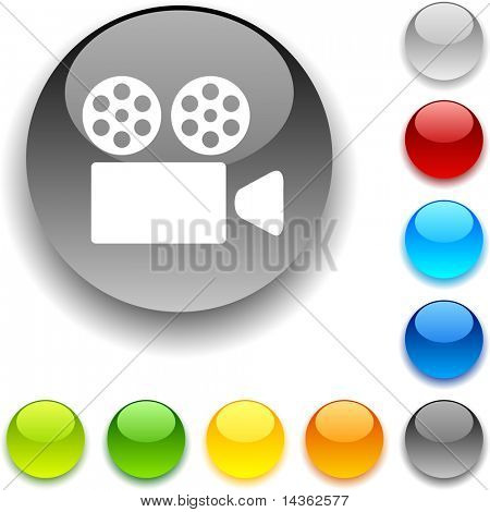 Cinema  shiny button. Vector illustration.