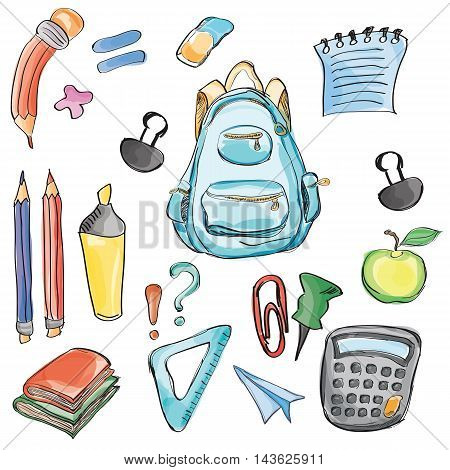Welcome Back to School Classroom Supplies Notebook Doodles Hand-Drawn Illustration Design Elements, Freehand drawing, Vector Watercolor style