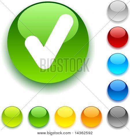 """Botón """"check"""" brillante. Ilustración del vector."""