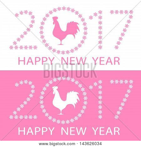 Set of symbol of the Happy New Year on east calendar silhouette rooster on the background figures in 2017 and the circle of snowflakes. Vector illustration