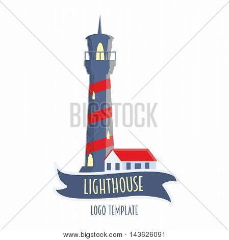Lighthouse Logo Or Label Design Element Vector Illustration In Flat Style. Red And Blue Colors