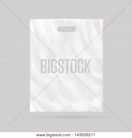 Blank plastic bag mock up isolated 3d illustration. Empty white polyethylene package mockup. Consumer pack ready for logo design or identity presentation. Commercial product food packet handle. Sale packaging mock-up